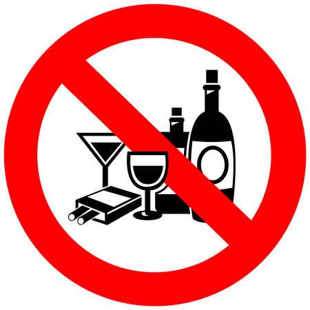 alcool: Pas d'alcool et le tabagisme signe, créer par le vecteur Illustration