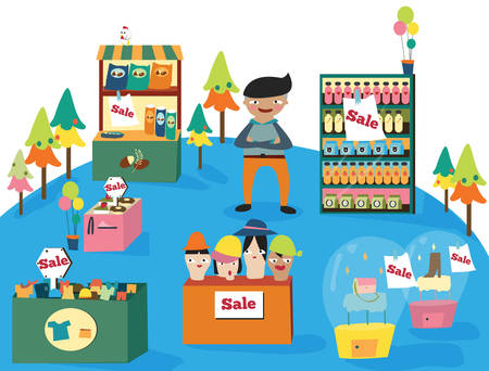 department store: A man shopping in a cute department store with many products on sale with no bubble, create by vector