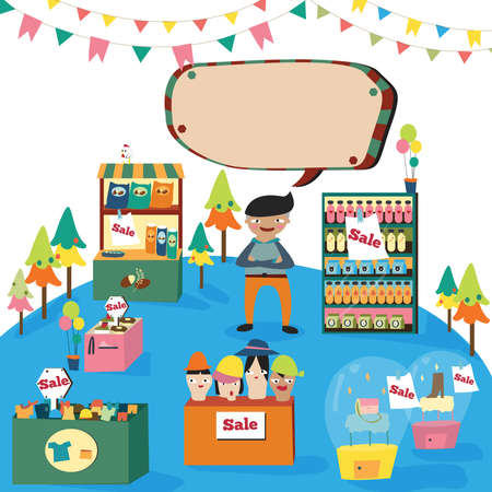 an illustration promoting: A man shopping in a cute department store with many products on sale, create by vector Illustration