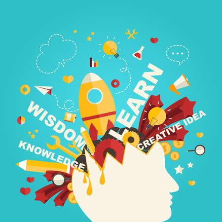 Kennis en creativiteit iconen voortvloeien uit een man hoofd in infographic ontwerp, creëren door vector