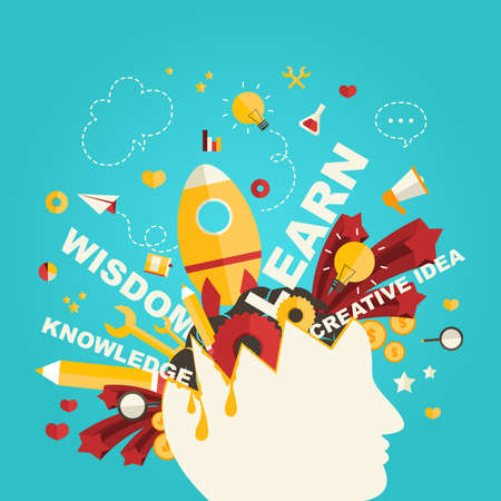 Wissen und Kreativität icons fließen von einem Mann, den Kopf in Infografik Design, durch den Vektor erstellen
