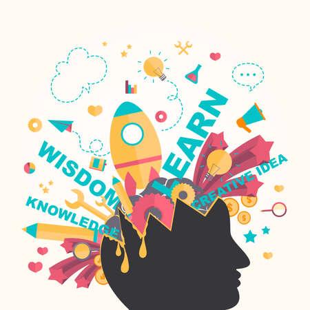 conocimiento: Conocimiento y la creatividad iconos fluyen de una cabeza de hombre en el diseño infográfico, crear por el vector