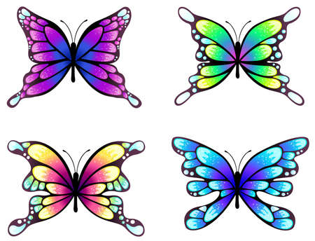 Highly detail illustration of silhouette butterflies set, create by vector Vector