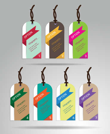 Modern colorful tags and hanging labels design with sample text, create by vector Vector