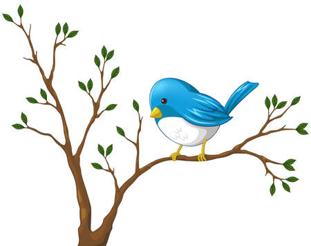 bird nightingale: Cute little blue bird on the branch of the tree Illustration