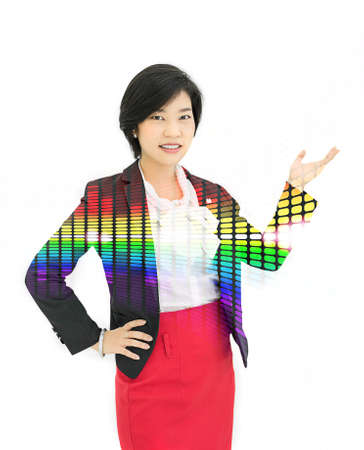 welcome smile: Pretty Asian reporter is posing a presentation gesture in white background with colorful abstract light effect on her body