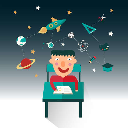 A boy is studying science such as maths, astronomy, and chemistry while his imagination flow, create by vector Vector