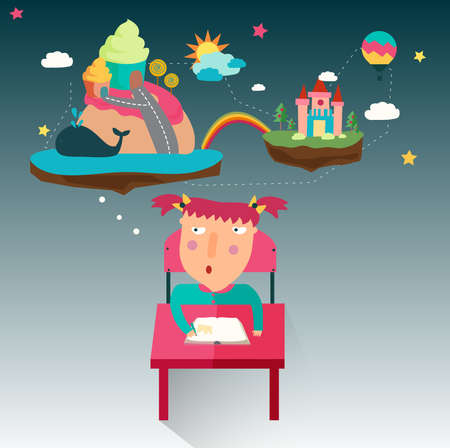 A girl is writing a fantasy novel while her imagination flow, create by vector Vector