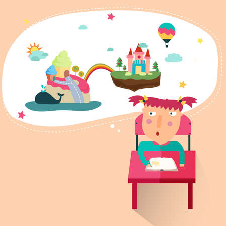 A girl is drawing a fantasy picture from her great imagination in her mind, create by vector Vector