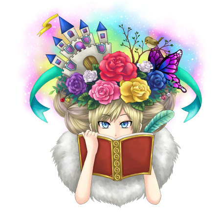 novels: Illustration of a girl writing fantasy novel book while her imagination growing on her head or maybe she is a goddess writing her own world.