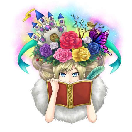 ruiseñor: Ilustración de una novela de fantasía libro de escritura chica mientras su imaginación creciendo en su cabeza o tal vez ella es una diosa escribir su propio mundo.