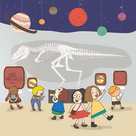 Kinderen hebben een educatieve studie aan het nationale museum te creëren door vector