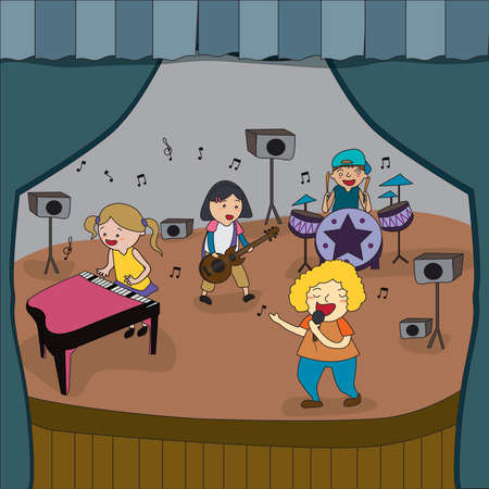 pop singer: Cartoon children band is playing concert on stage in school fair create by vector Illustration