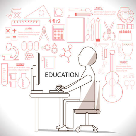 Flat linear infographic of man studying in many subject such as art and science. It is an education concept create by vector Vector