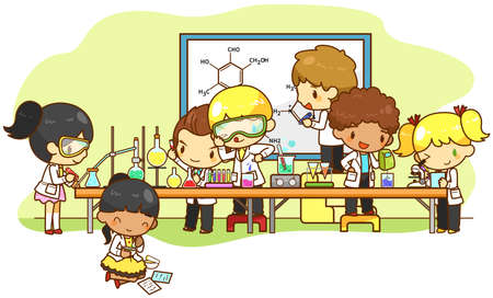 investigador cientifico: Los niños estudian y trabajan en el laboratorio de crear por el vector