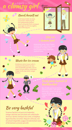 clumsy: A guide to be a clumsy girl infographic template layout design with sample text version 2 create by vector