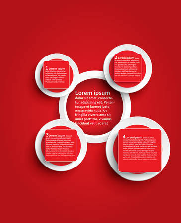 Red infographic glossy background template design in circle shape create by vector Vector