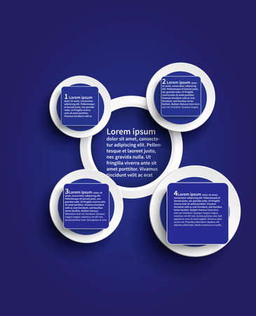 Blue infographic glossy background template design in circle shape create by vector Vector