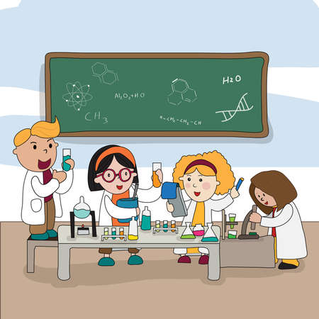 cartoon board: Cartoon children are studying and working in the laboratory create by vector