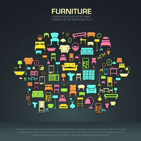 modern furniture: Flat home furniture icon design in a sofa shape create by vector Illustration