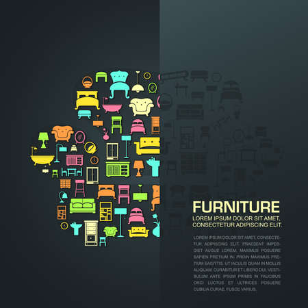 Flat home furniture icon design in a sofa shape with half transparent background space with sample text create by vector Vector