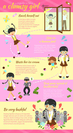 A guide to be a clumsy girl infographic template layout design with sample text create by vector