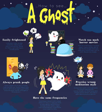 How to see a ghost infographic template design with sample edible text layout create by vector Vector