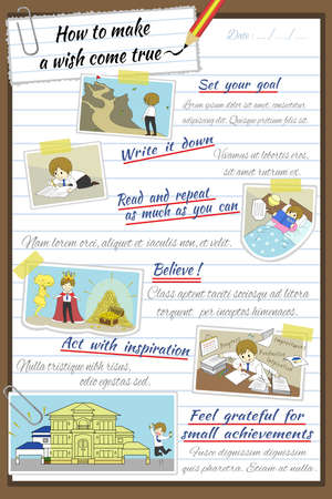 How to make a wish come true infographic template design in notebook paper background with sample text layout create by vector