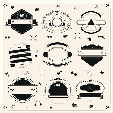 Silhouette Hipster tag and badge icon collection set with other sign in retro style, create by vector Vector