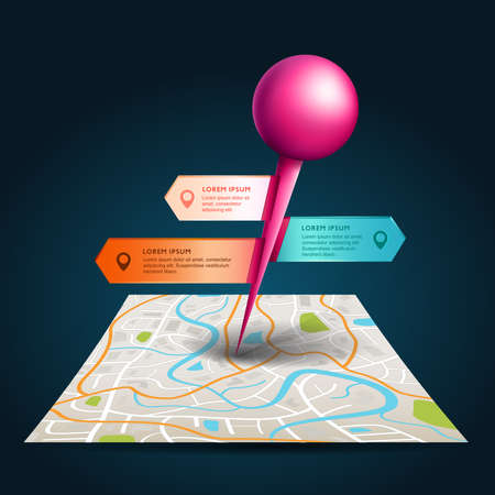 pin point: A city map with digital satellite gps pin point with colorful badge and label tags with sample text in isolated background