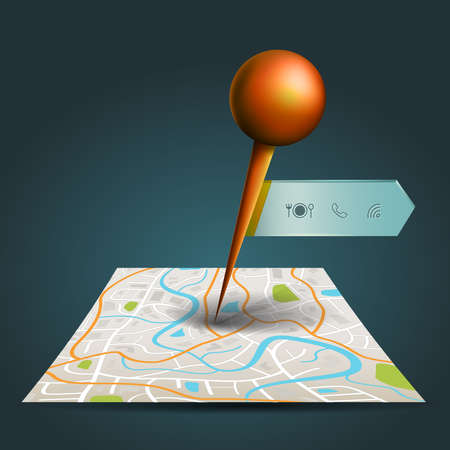 pin point: A city map with digital satellite gps pin point with locations and wifi icon label tag with sample text in isolated background Illustration