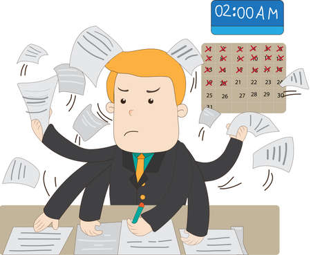 workload: A cartoon salary office worker is busy working overtime with huge workload on his hands with stress expression and the deadline is near create by vector