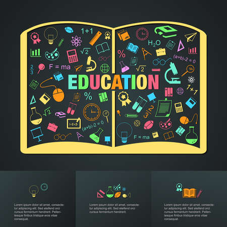 Flat linear infographic of education academic text book from many subject such as maths science art chemistry sport and computer icon template layout design create by vector Vector