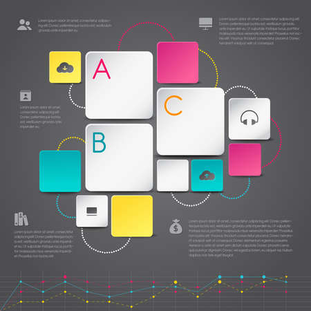 Business 3D infographic paper background template layout design in geometric shape with icons and graph, create by vector Vector