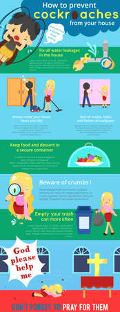 prevent: How to prevent cockroaches from your house cartoon infographic template design with sample text layout, create by vector