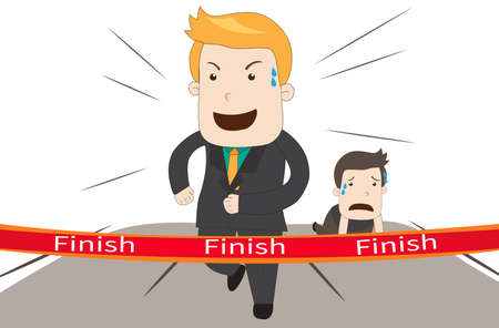 give up: A cartoon businessman is winning againts his competitor in a marathon racing business competition game, create by vector