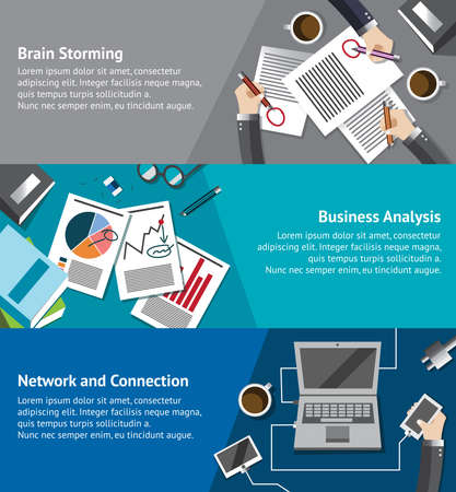 social networking: Business infographic activities template of businessman and businesspeople brainstorming analyzing market and meeting via network teleconference background layout design create by vector