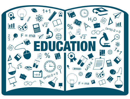 math icon: Silhouette flat linear infographic of education academic text book from many subject