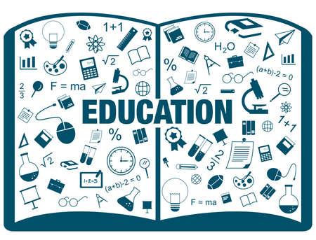 matematicas: Silueta infografía lineal plano de la educación académica de libros de texto de muchos sujetos Vectores