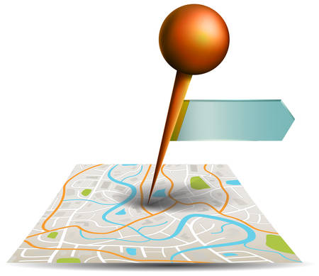 zoom: A city map with digital satellite gps pin point with locations and label tag in white isolated background, create by vector