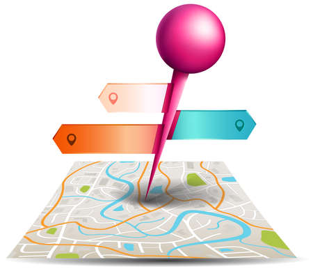 A city map with digital satellite gps pin point with colorful badge and label tags in white isolated background, create by vector Vector