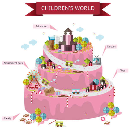 Children fantasy world map of imagination in wedding cake shape infographic with candy and toy decorations template design in isolated background with wording, create by vector Vector