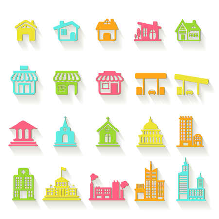 church building: Colorful house, church, shop, building, and other public construction architecture icon set, create by vector