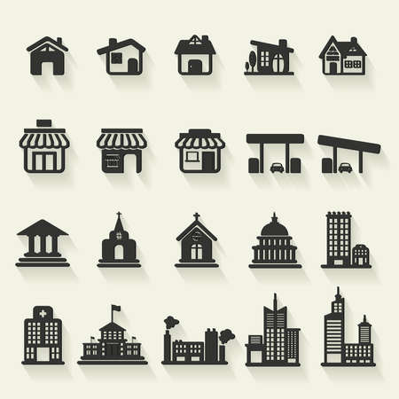 council: Silhouette house, church, shop, building, and other public construction architecture icon set, create by vector