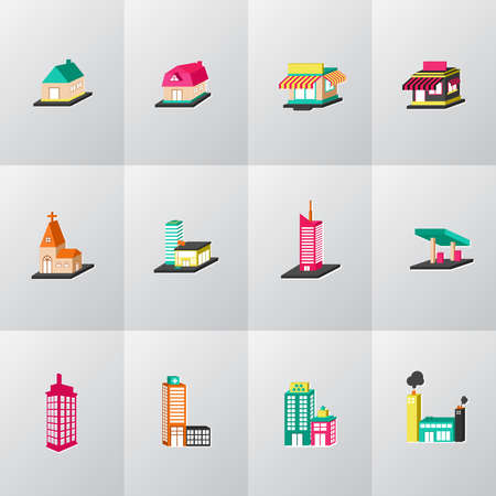 3D colorful house, church, shop, building, and other public construction architecture icon set, create by vector Vector