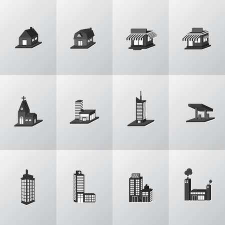 3D silhouette house, church, shop, building, and other public construction architecture icon set, create by vector Vector