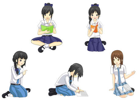 high school: Cute cartoon Asian Thai schoolgirl students in government convert and international high school uniform in casual learning and studying icon collection set create by vector Illustration
