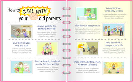 How to deal with your old parents father and mother cartoon info graphic template design with sample text layout in full diary version, create by vector Vector