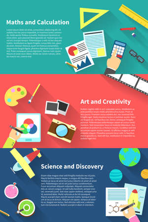science text: Children education infographic activities and stationary template icon of subjects such as maths and calculation, art and creativity, science and discovery, background layout design, create by vector