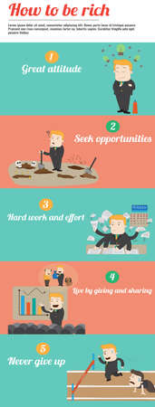 dig up: How to be rich infographic template design with sample text layout, create by vector Illustration